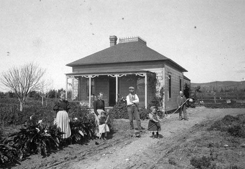 Bathgate Family home in Villa Park, 1885 Newly donated photograph to the Orange Public Library local history archive shows a home in Villa Park in 1895. The photograph shows the Bathgate family standing in front of their home, located where Villa Park High School stands now. In the center of the photograph are Mr. William George Bathgate and Mrs. Violet Kirkwood Bathgate. The family was originally from Scotland and Mr. Bathgate was a surveyor in the City of Orange.