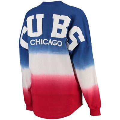 Women s Chicago Cubs Royal Oversized Long Sleeve Ombre Spirit Jersey T-Shirt 3a0625d97