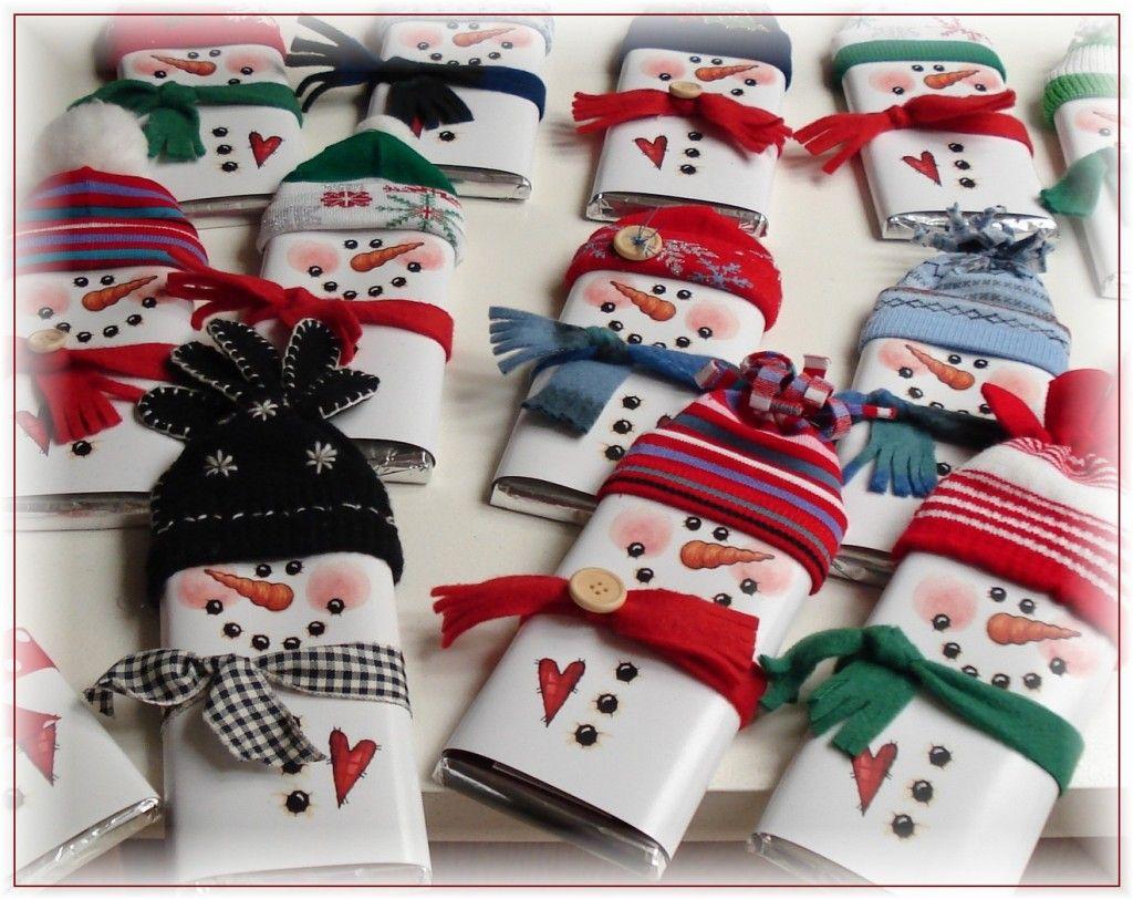 Chocolates disfrazados de muecos de nieve  navidad  Pinterest