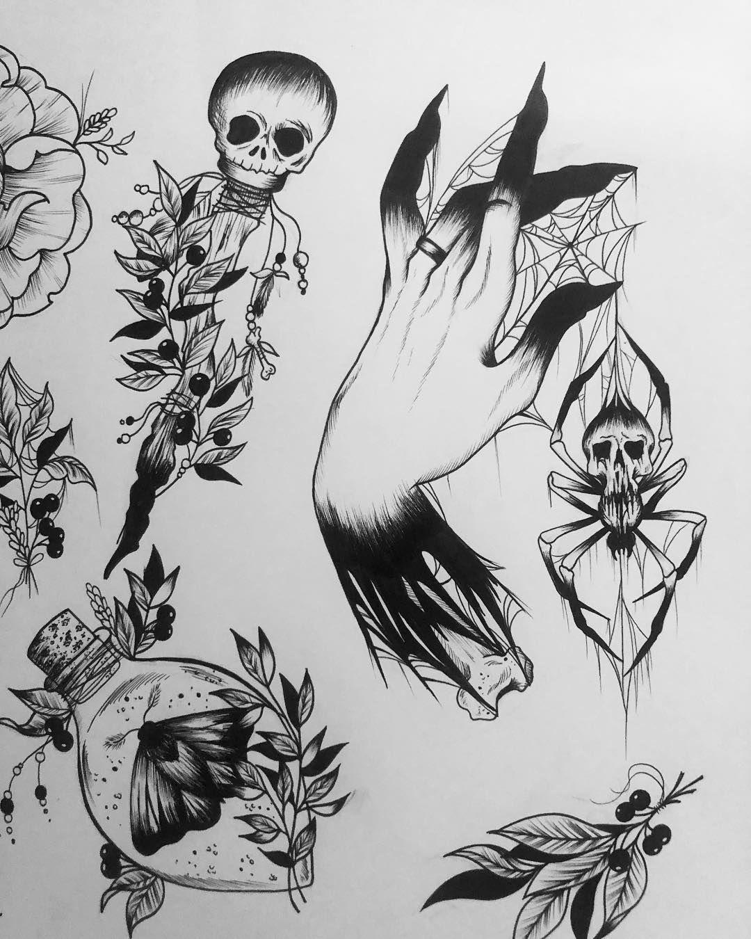 Some More Halloween Flash Snake Taken Traditional Tattoo Art Halloween Tattoos Dark Tattoo