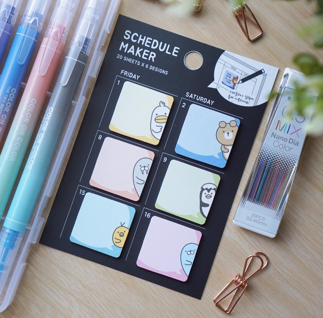 cute schedule marker or sticky notes cyte stationery