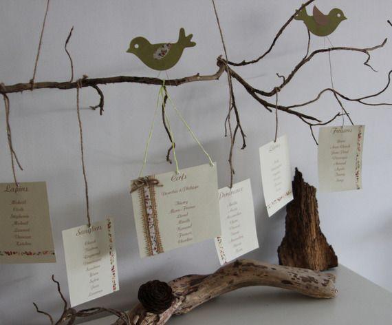 plan de table d coration de mariage bapt me th me nature et oiseaux cyrille et sissi. Black Bedroom Furniture Sets. Home Design Ideas