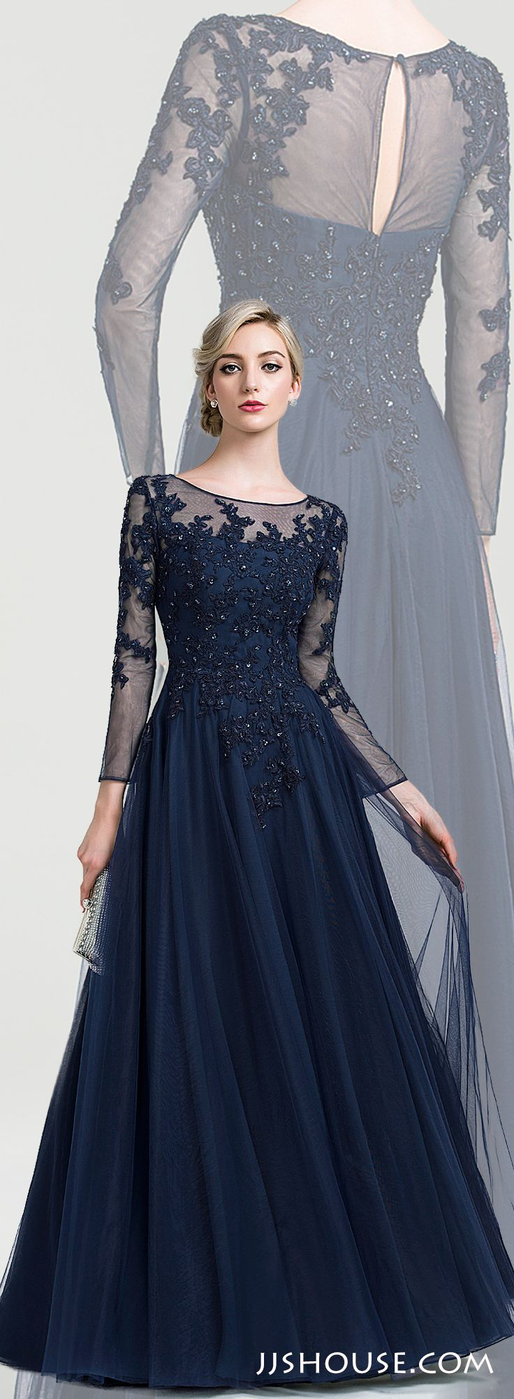 Lace and tulle mother of the bridegroom dress featuring delicate