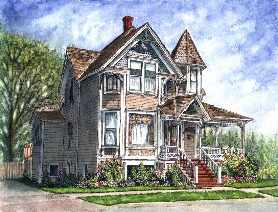 Gingerbread Victorian Cottage Original Watercolor