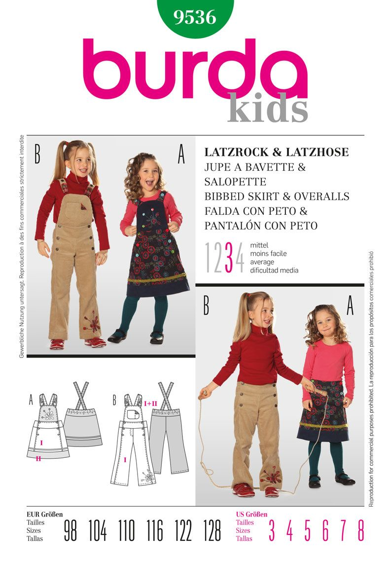 Simplicity/Burda Kids\' Overalls pattern (B9536)   Sewing for ...