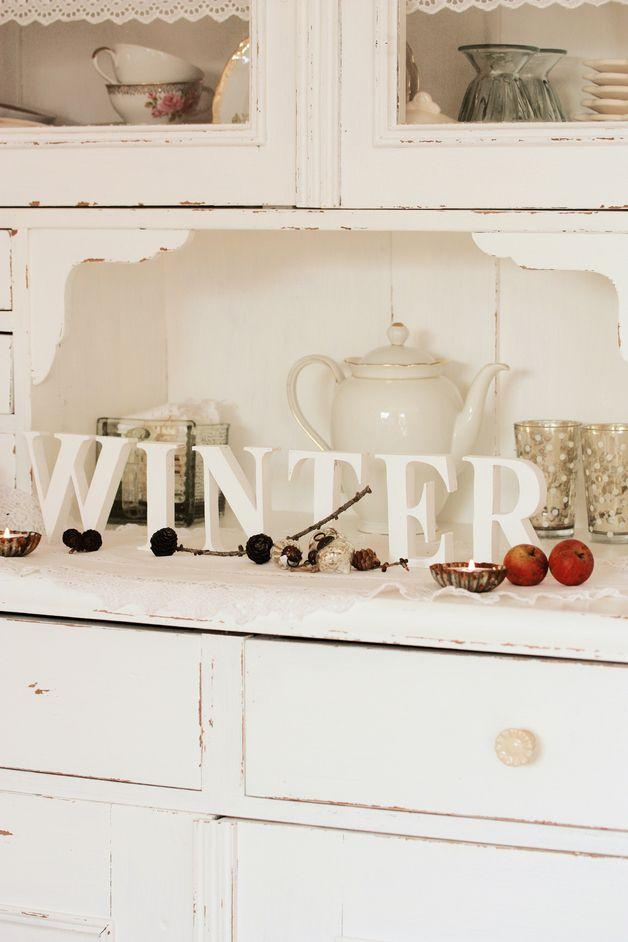 Deko-Objekte - vintage WINTER Schriftzug weiß \ shabby - ein - winter deko wohnzimmer