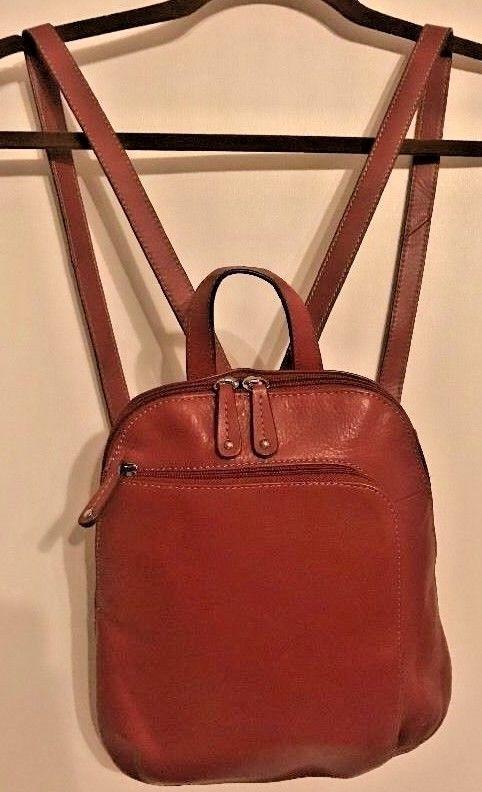 Tignanello Red Leather Handbag Purse Organizer Shoulder Bag Backpack Slingpack Backpackstyle
