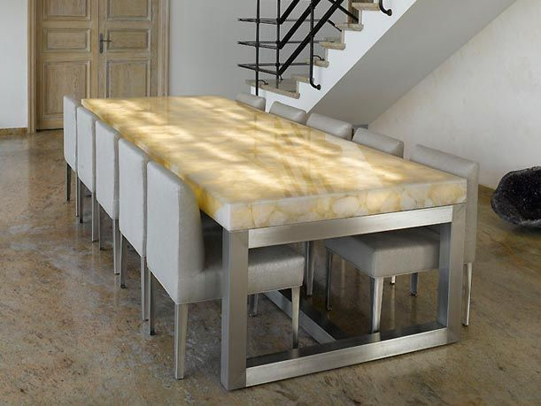 Translucent Gemstone Dining Room Table Backlit With LED Lighting Pinworthy Tables We Love At Design