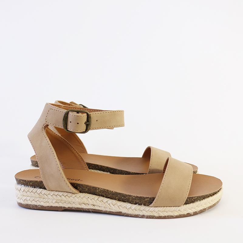 Simply Chic Ankle Strap Vegan nuBuck Wedge Platform Espadrille Sandal Off White