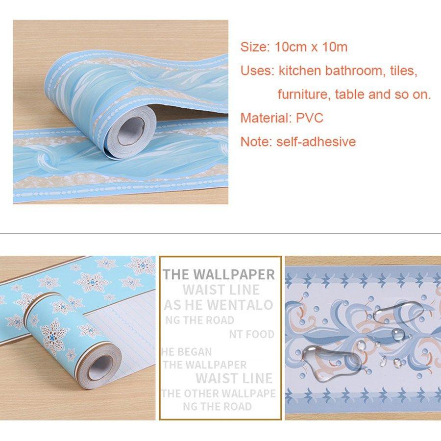 Pvc Self Adhesive Wallpaper Border Kitchen Bathroom Skirting Line Sticker Remo Wallpaper Border Kitchen Self Adhesive Wallpaper Borders Self Adhesive Wallpaper
