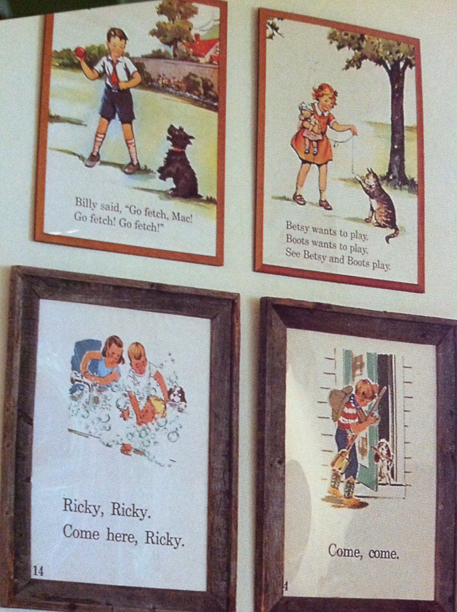 Frame old kids book pages.