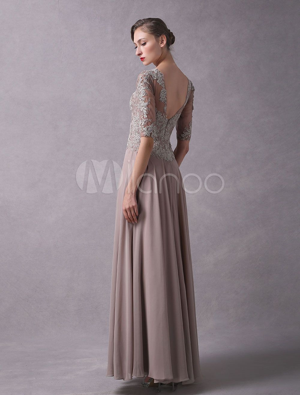 08309ebcc7 Wedding Guest Dresses Lace Applique Chiffon Mother Of The Bride Dress Half  Sleeve Illusion Floor Length Wedding Party Dresses  Applique