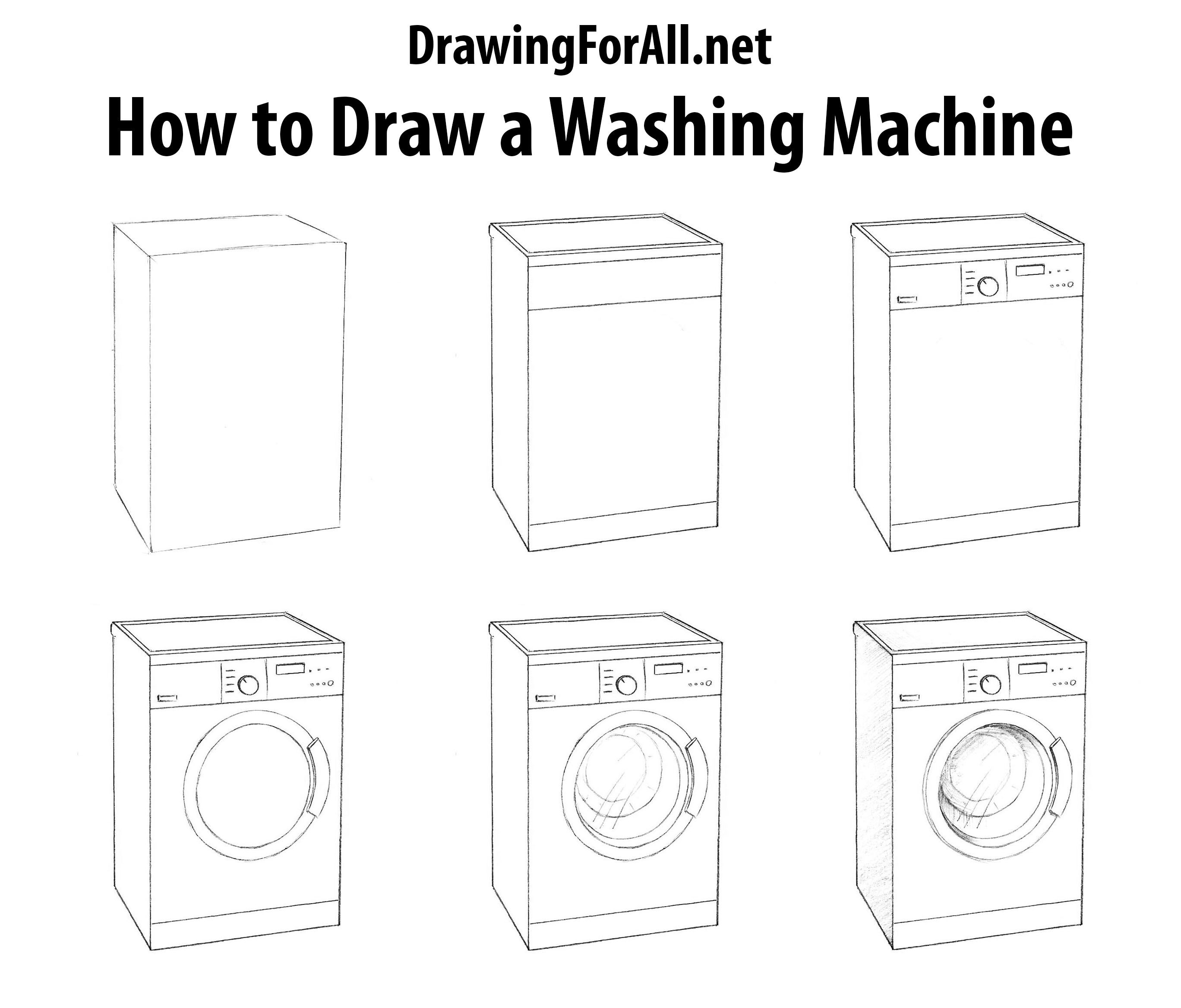 How To Draw A Washing Machine Drawingforall