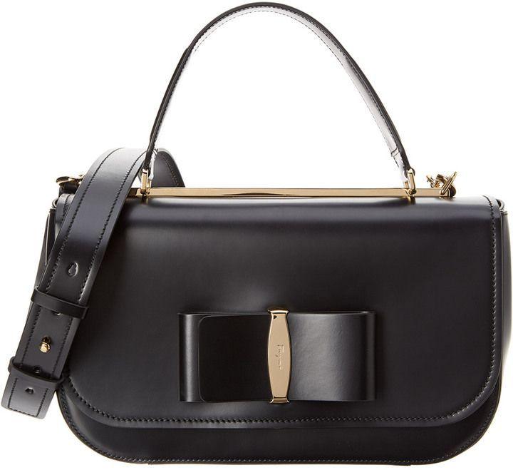c119cbc56 Salvatore Ferragamo Linda Medium Vara Lux Leather Top Handle Bag ...