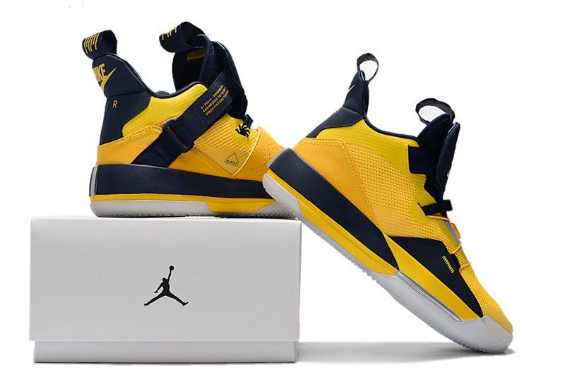 bdf72098c23a Mens Air Jordan 33 Michigan PE Yellow Navy Blue Basketball Shoes in ...