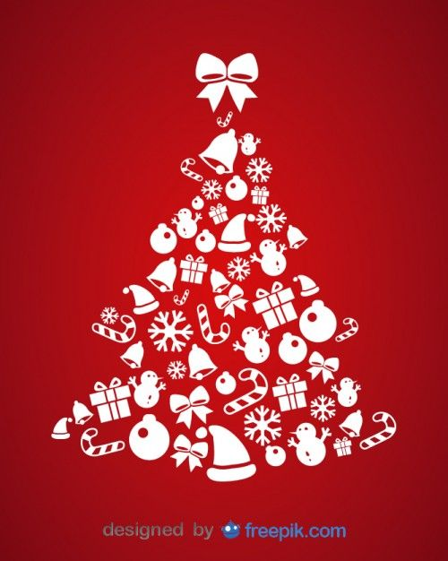 Download Christmas Tree Made Of Christmas Elements For Free Christmas Card Design Christmas Vectors Christmas Cards