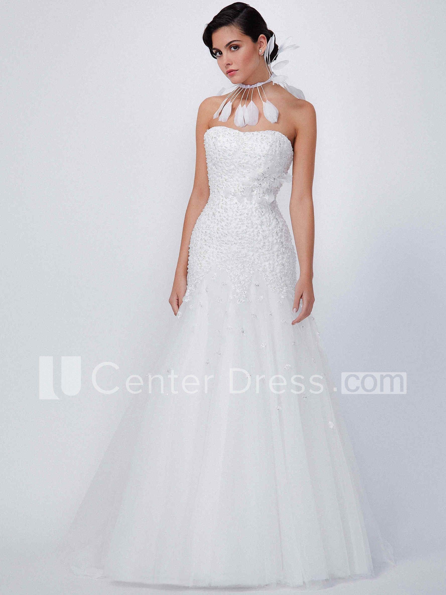 mermaid strapless sleeveless beaded maxi tulle wedding dress with