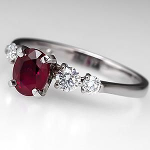 RUBY RED GARNET /& DIAMOND SILVER RING 4 CWT WHITE GOLD LOOK GENUINE STONES