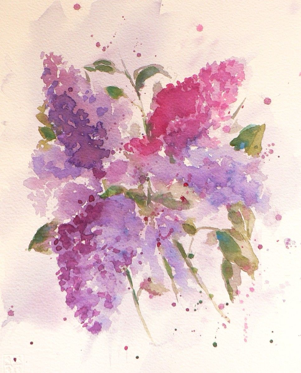 Watercolor Flowers And Paint Brushes: Pin By Katerina C. On Home