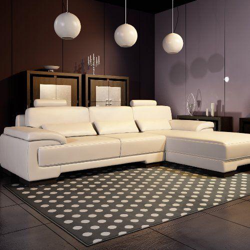 Universol - Tapis salon POINTS blanc et gris UNIVERSOL - GECDIF