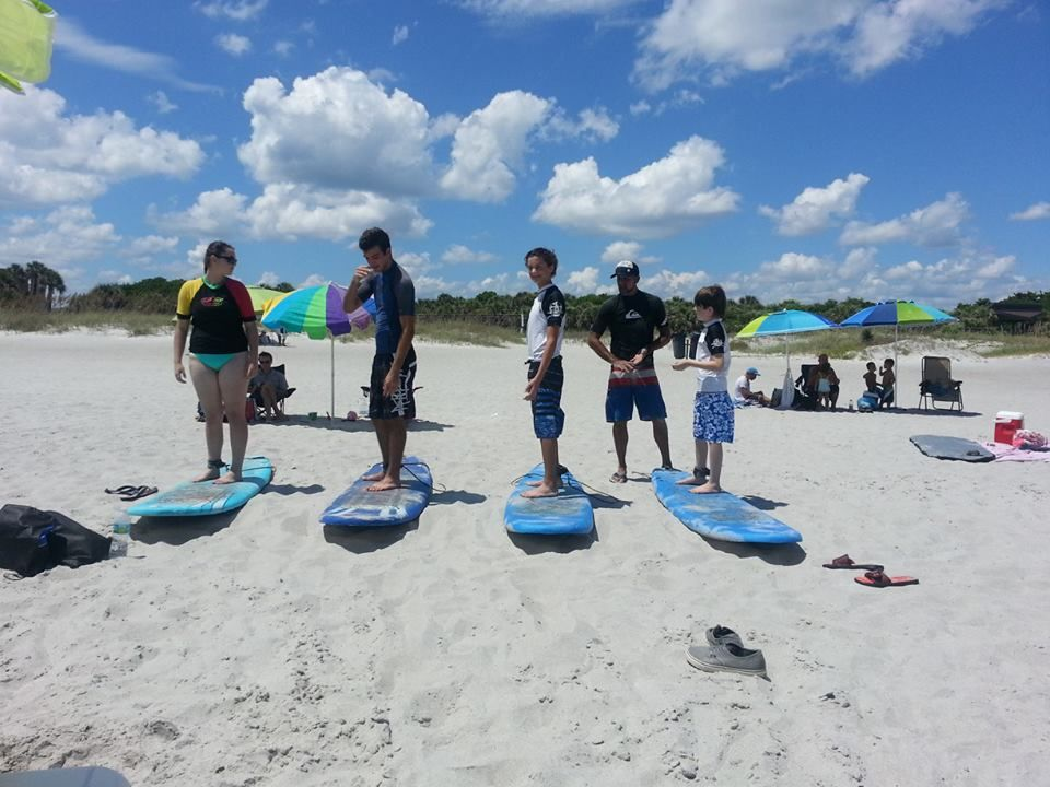 Students Learning Foot Placements While Taking Surf Lessons Cocoa Beach Surf Lesson Cocoa Beach Surfing