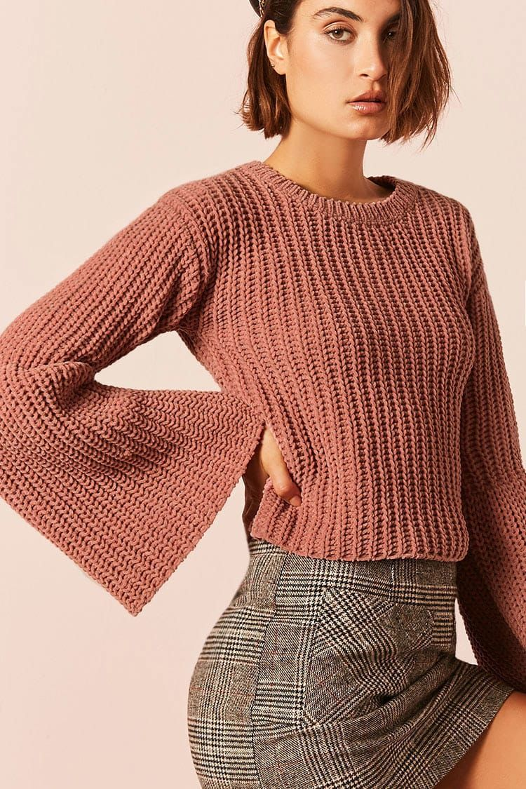 c1d38913e Product Name Chunky Ribbed Knit Trumpet-Sleeve Sweater