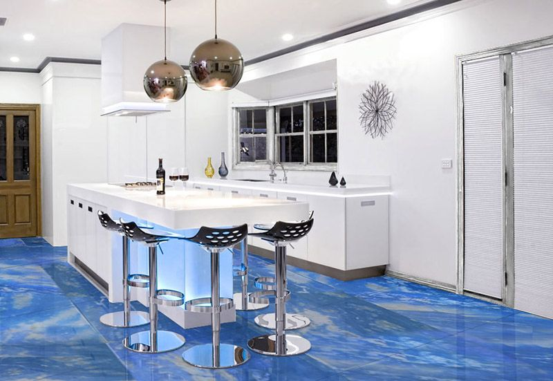 Blue Planet Marble Tiles Applied At Floor