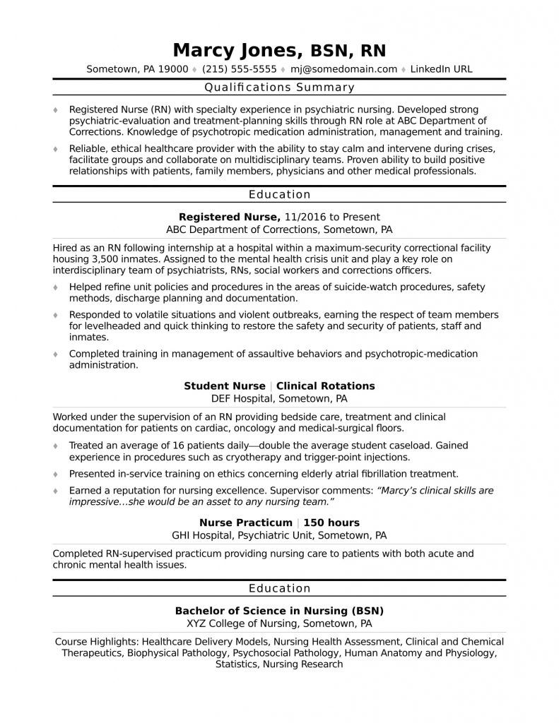 Resume Registered Nurse Examples in 2020 Nursing resume