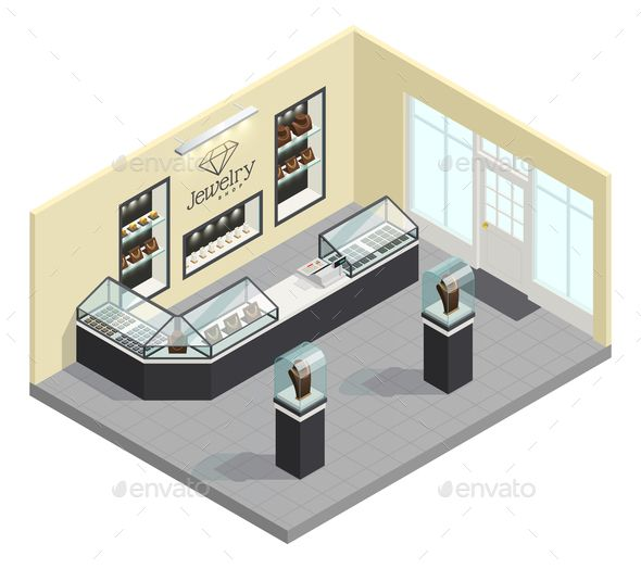 Jewelry Shop Isometric Interior With Female Adornments In