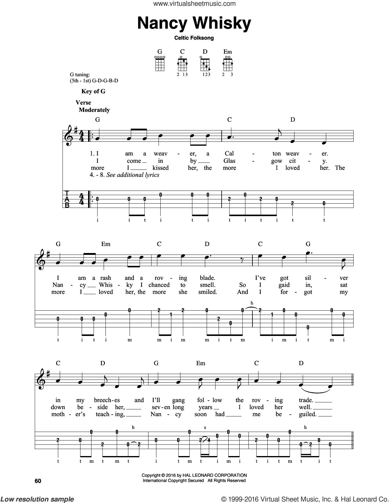 Folksong Nancy Whisky Sheet Music For Banjo Solo Pdf In 2020 Sheet Music Folk Song Digital Sheet Music