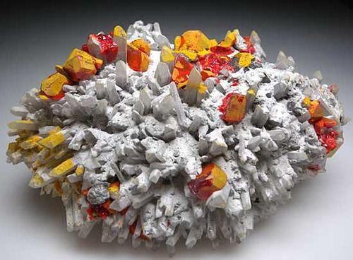 Orpiment & Realgar on Quartz - Peru #orpiment #realgar #peru #quartz #minerals #crystals #geology #nature #rocks #yellow #red #orange #white #cluster