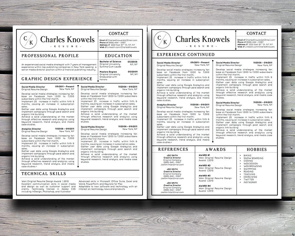 Modern resume template for MS Word | CV Inspiration | Pinterest