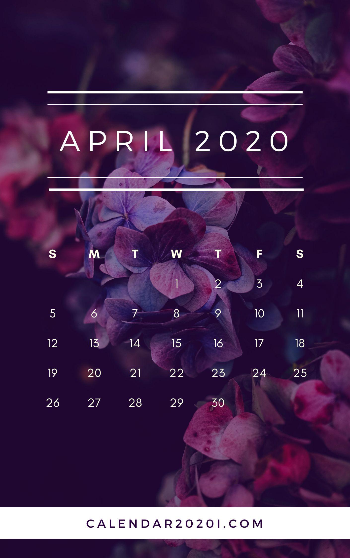 April 2020 Floral Calendar Printable Calendar 2020 in
