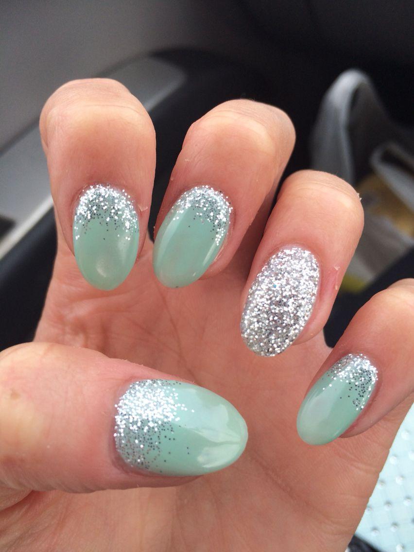 Calgel , mint and silver glitter