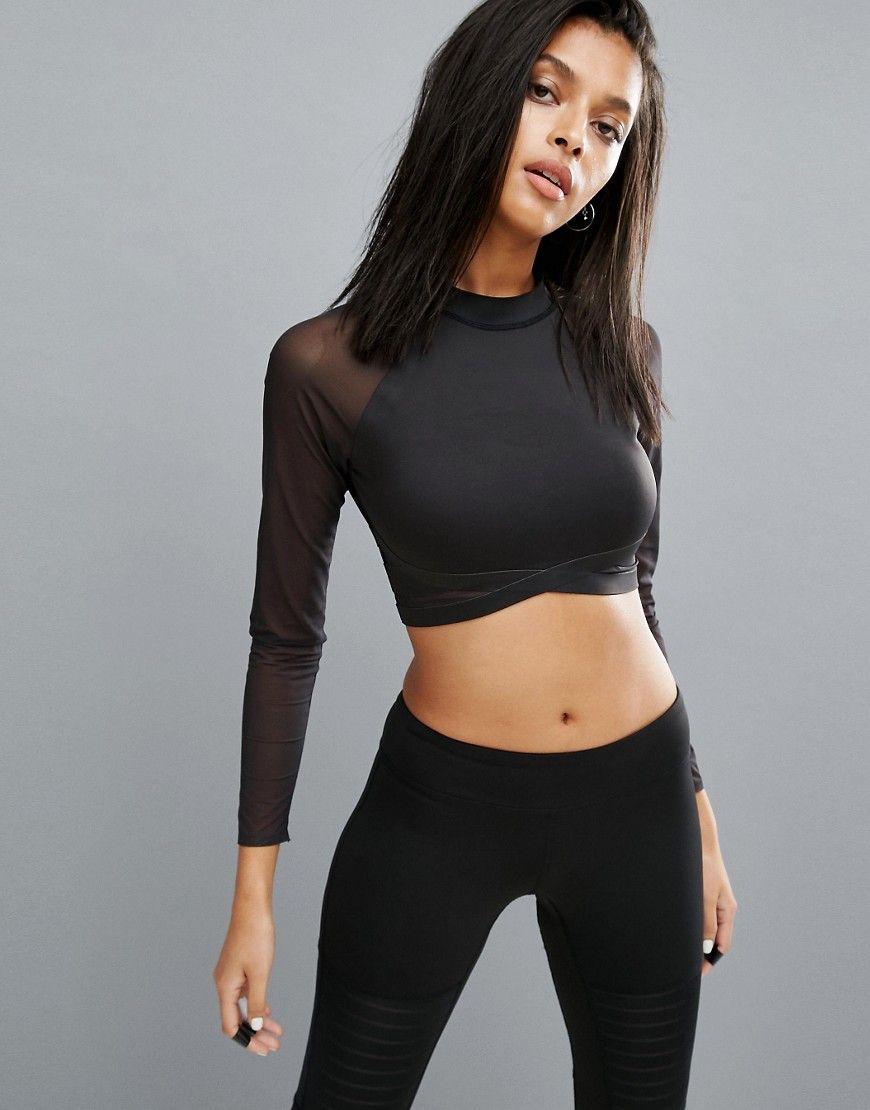3c8f270c3b54c8 Buy it now. Reebok Long Sleeve Mesh Crop Top - Black. Top by Reebok ...