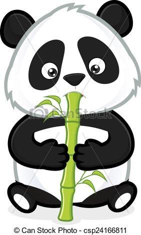 ClipArt, image, Panda, dessin animé, caractère, manger, bambou ...