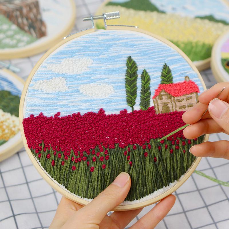 DIY Cross Stitch Kit Handcraft Embroidery Needle Thread Hoop 20cm Frame Cloth