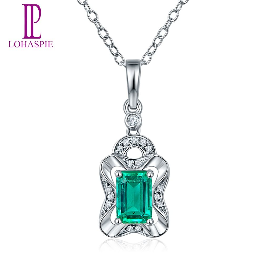 Lohaspie solid k white gold ct natural emerald u single cut