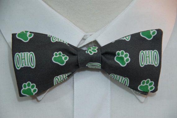 Ohio Bobcat on Charcoal  Bow Tie