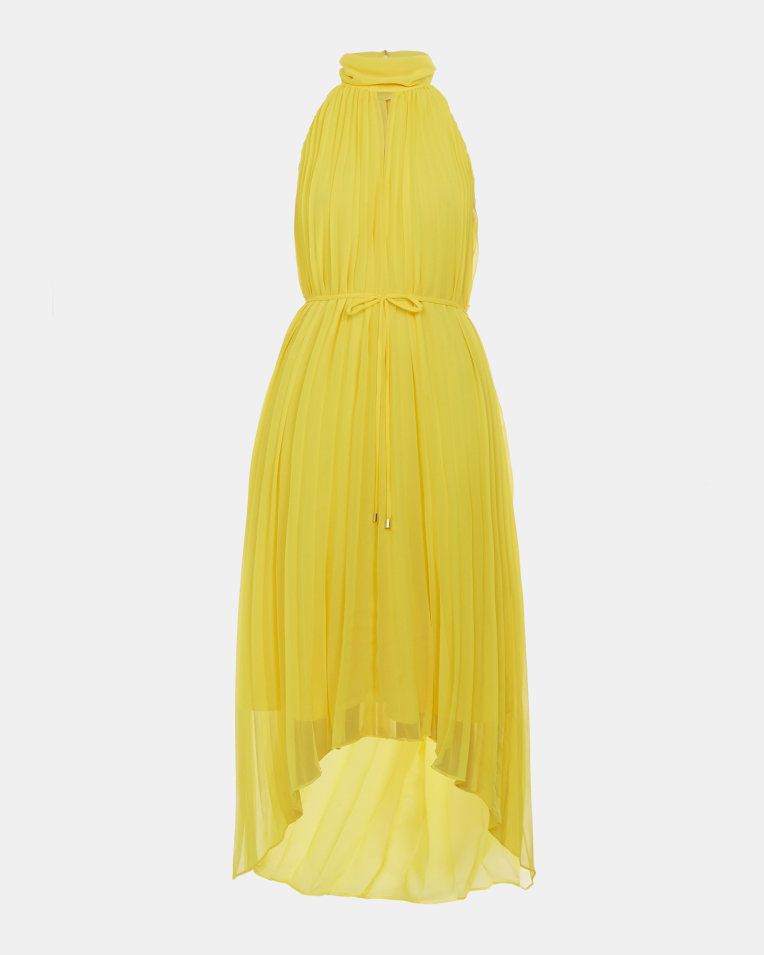 Pleated Collar Maxi Dress Yellow Dresses Ted Baker