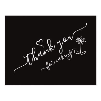 Download Thank You with Heart and Fkower (SVG) VZS2 Black Postcard ...