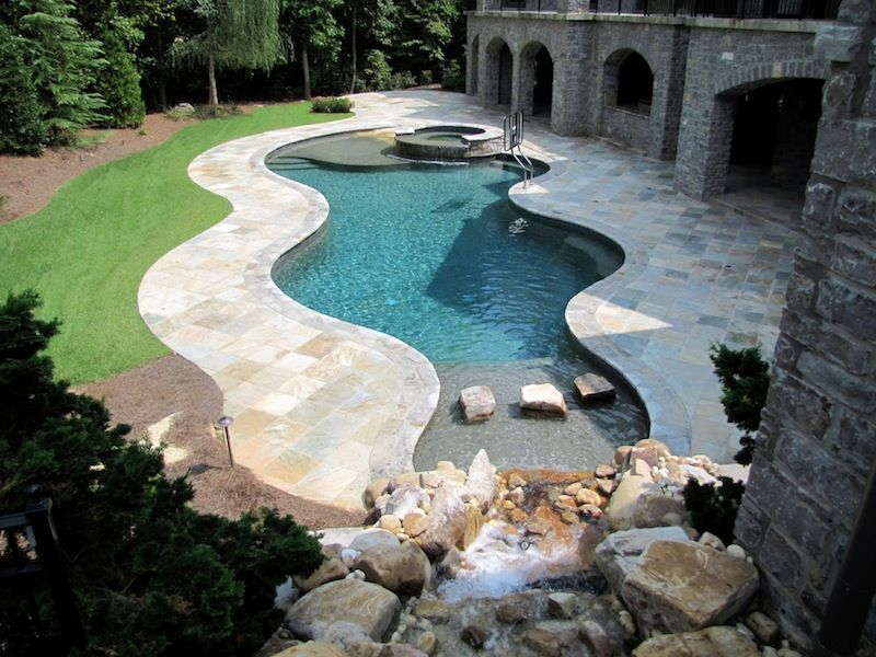 Inground Swimming Pool With Beach Entry And Waterfalls | Pool