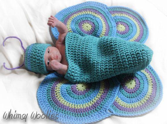 Crochet Photo Prop Pattern: 'Lil' Luv Bug' Newborn, Crochet Hat, Cocoon & Wings