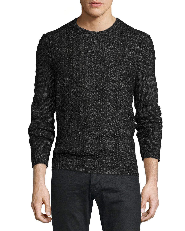 Cable-Knit Crewneck Sweater, Black