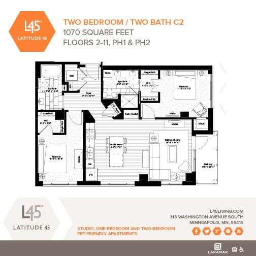 Two Bedroom/Two Bath C2 - 1,070 Square Feet - Available on ...