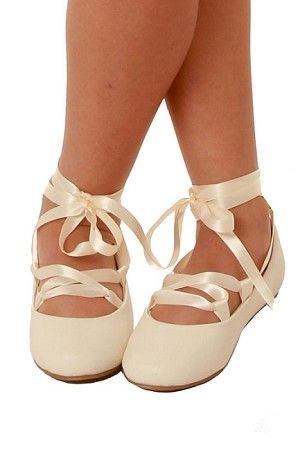 a638761ce831 Pazitos Girls Ivory Un Deux Trois Euro Ballet Flats With Ribbon Ties ...