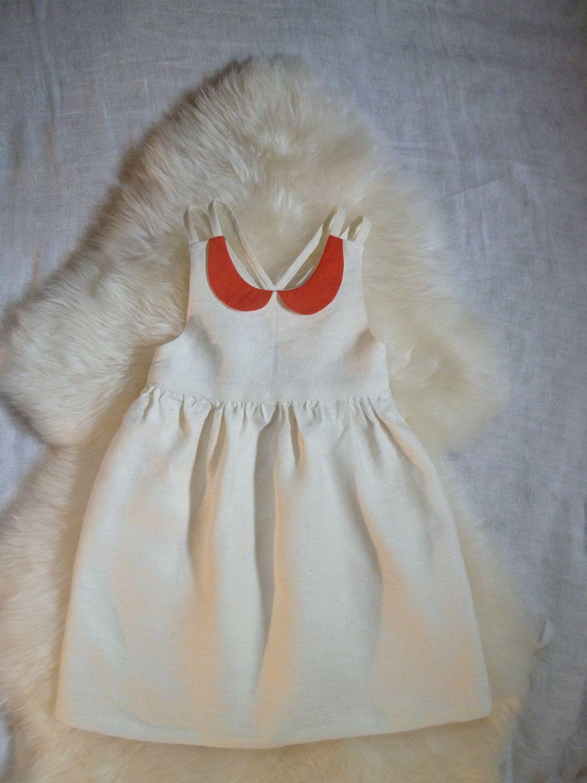 natural linen dress with peter pan collar kinderkleider. Black Bedroom Furniture Sets. Home Design Ideas