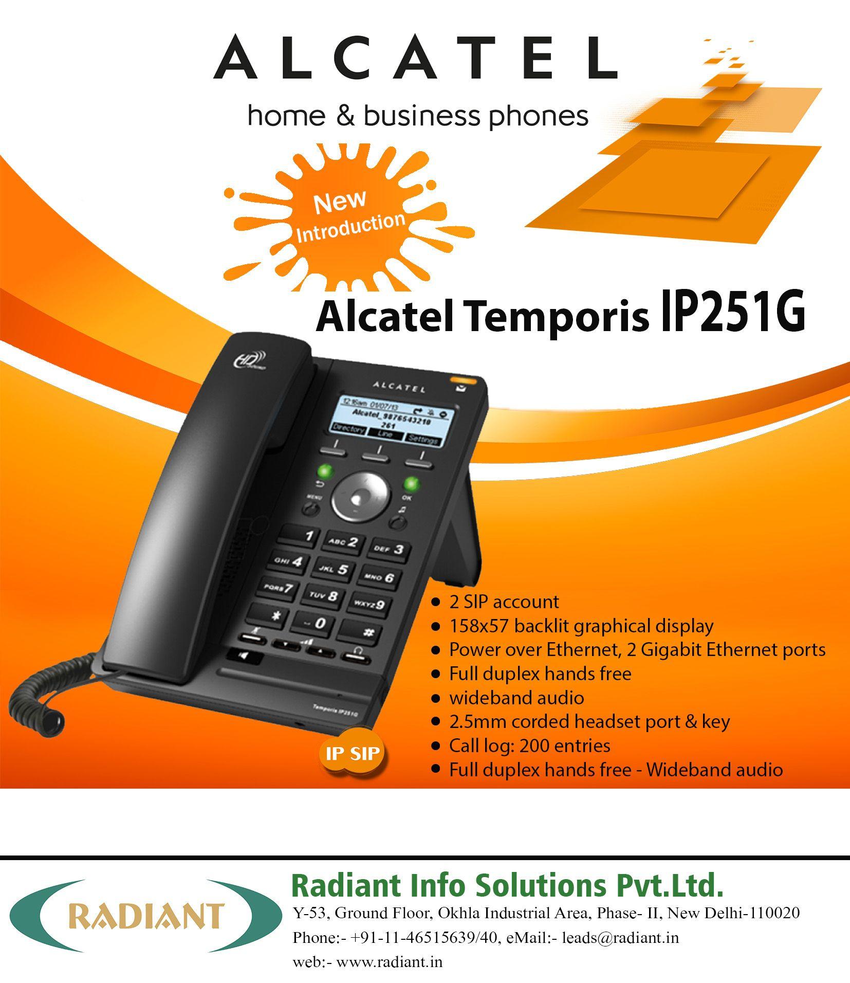 ALCATEL Home and Business IP Phone - Alcatel Temporis IP251G.  #Alcatel #IP #Phone #India #Voip #HomePhone #BusinessPhone #Radiant #AlcatelPhones   #BusinessPhoneSystem #IPPhone #Telecommunication