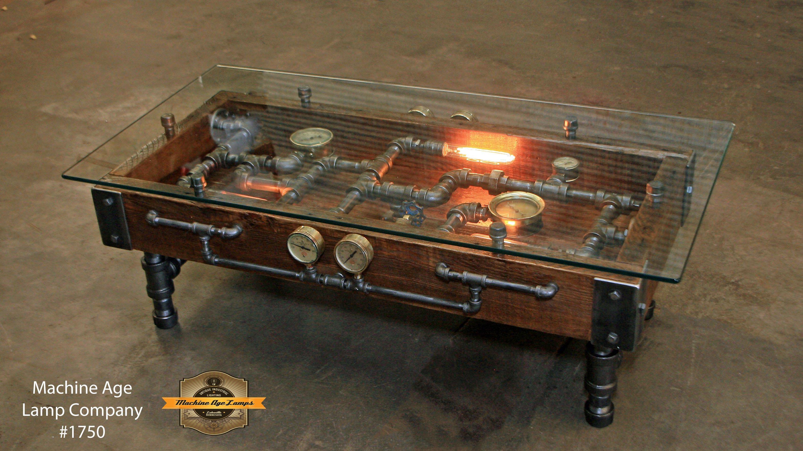 Steampunk Industrial Table Coffee Barn Wood Gauges Glass