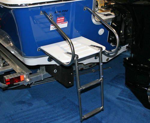 Boat White Swim Platform Two Rail with 2 Step Ladder | eBay
